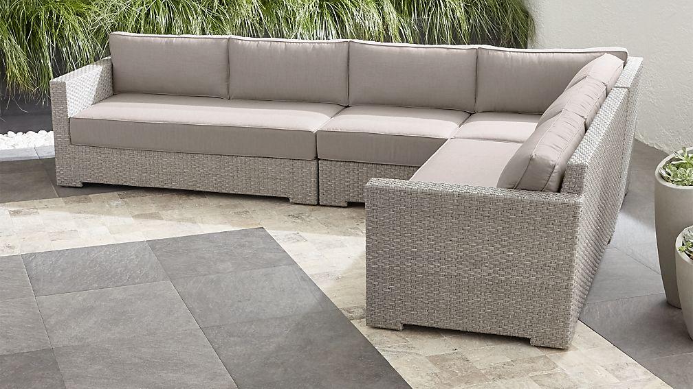 Ventura Quartz 4-Piece Loveseat Sectional with Silver Sunbrella ® Cushions - Image 1 of 3