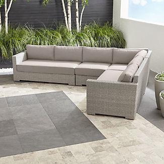 Ventura Quartz 4-Piece Loveseat Sectional with Silver Sunbrella ® Cushions