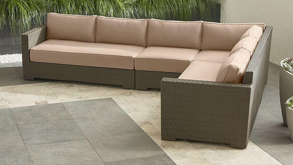 Ventura Umber 4 Piece Loveseat Sectional with Sunbrella Cushions
