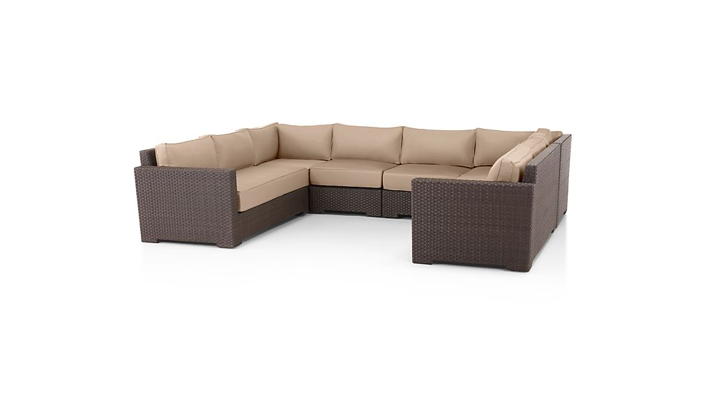 Ventura Umber 6-Piece Loveseat Sectional with Sunbrella ® Cushions