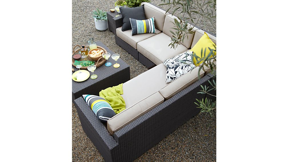 Ventura Umber Modular Right Arm Loveseat with Sunbrella ® Cushions
