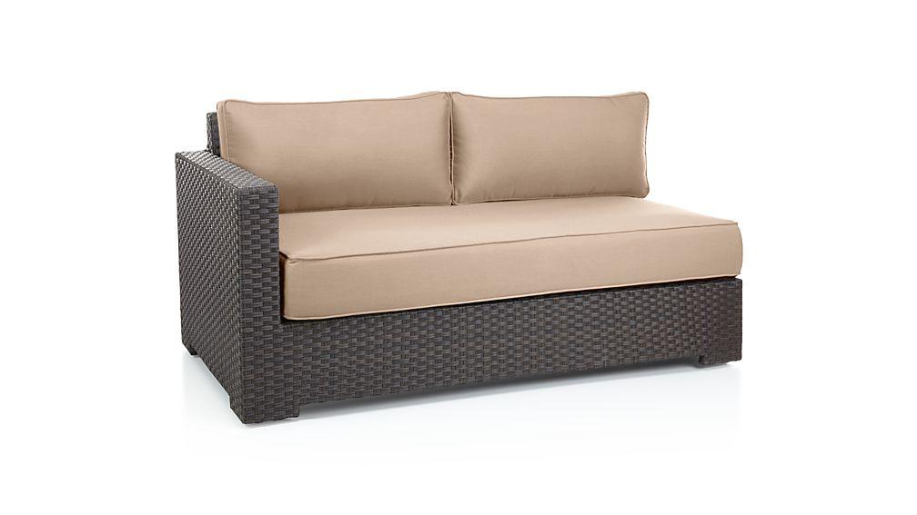 Ventura Umber Modular Left Arm Loveseat with Sunbrella ® Cushions