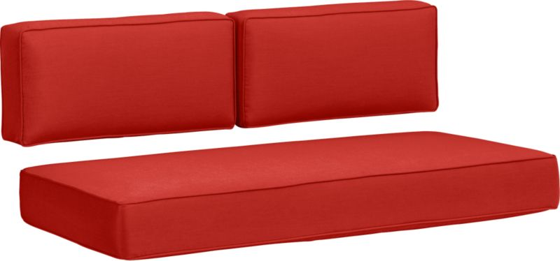 Modern, squared-off modular loveseat cushions in fade- and mildew-resistant Sunbrella® acrylic are a spicy caliente.<br /><br /><NEWTAG/><ul><li>Fade- and mildew-resistant Sunbrella acrylic</li><li>Spot clean</li><li>Polyurethane foam cushion fill</li><li>Made in USA</li></ul>