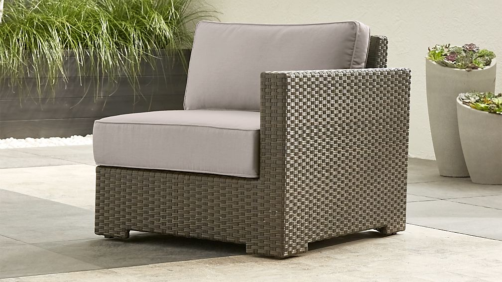 Ventura Umber Modular Right Arm Chair with Silver Sunbrella ® Cushions - Image 1 of 5