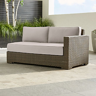 Ventura Umber Modular Right Arm Loveseat With Silver Sunbrella ® Cushions