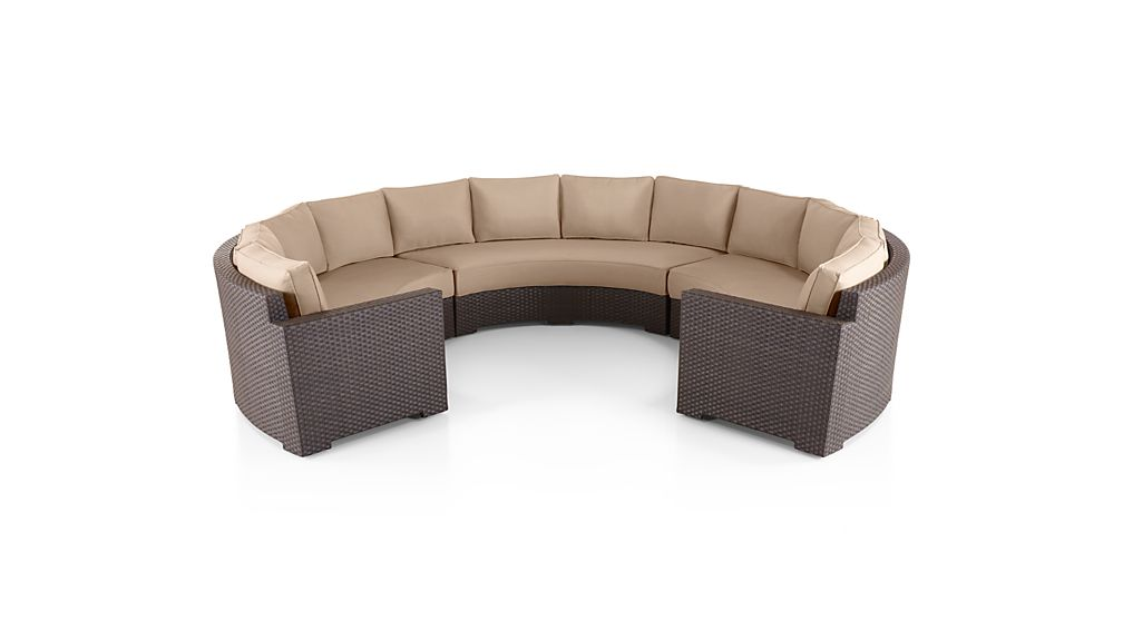 Ventura Umber Round Large 3-Piece Sectional with Sunbrella ® Cushions