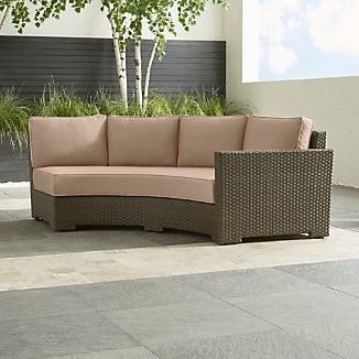 Ventura Umber Round Right Arm Sofa with Sunbrella ® Cushions