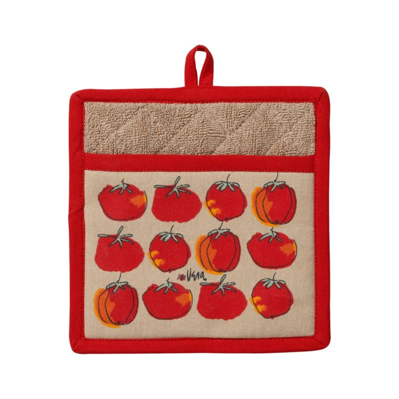 In our exclusive design from renowned '70s textile artist Vera Neumann, flowing line drawings of plump tomatoes with a beautiful red and orange watercolor palette row up on a neutral background. Cotton potholder is trimmed in red, lined with neutral cotton terrycloth, and finished with a center hanging loop.<br /><br /><NEWTAG/><ul><li>Designed by Vera Neumann</li><li>100% cotton, cotton terry lined</li><li>Polyester filling</li><li>Machine wash</li></ul>