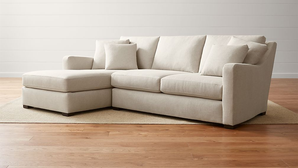 Verano Left Arm Beige Sectional with Chaise Crate and Barrel
