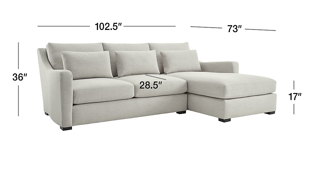 TAP TO ZOOM Image with dimension for Verano II 2-Piece Right Arm Chaise Slope Arm Sectional Sofa