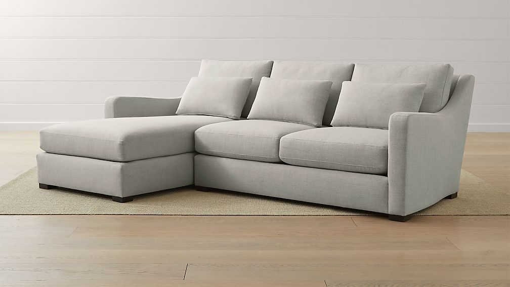 Verano Ii 2 Piece Left Arm Chaise Slope Sectional Sofa Crate And Barrel