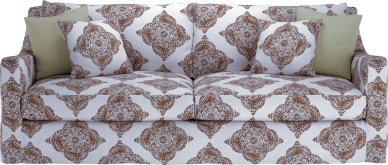 """Curve-hugging slipcover makes the most of Verano's graceful curves and plump cushioning.<br /><br />Additional <a href=""""http://crateandbarrel.custhelp.com/cgi-bin/crateandbarrel.cfg/php/enduser/crate_answer.php?popup=-1&p_faqid=125&p_sid=DMUxFvPi"""">slipcovers</a> available below and through stores featuring our Furniture Collection.<br /><br /><NEWTAG/>After you place your order, we will send a fabric swatch via next day air for your final approval. We will contact you to verify both your receipt and approval of the fabric swatch before finalizing your order.<br /><ul><li>95% cotton and 5% linen</li><li>Machine wash</li><li>See additional frame options below</li></ul>"""