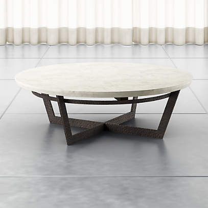 Verdad Round White Marble Coffee Table Crate And Barrel Canada
