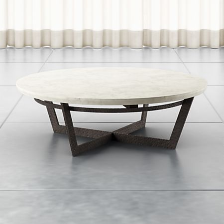 Criss Cross Coffee Table.Verdad Round White Marble Coffee Table