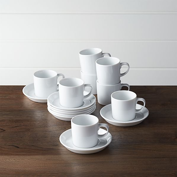 Set of 8 Verge 4 oz. Espresso Cups and Saucers