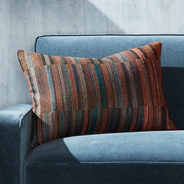 "Verona Hand Woven Pillow 22""x15"" - Image 1 of 9"