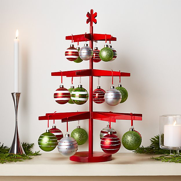 very merry red tree and ornaments crate and barrel. Black Bedroom Furniture Sets. Home Design Ideas