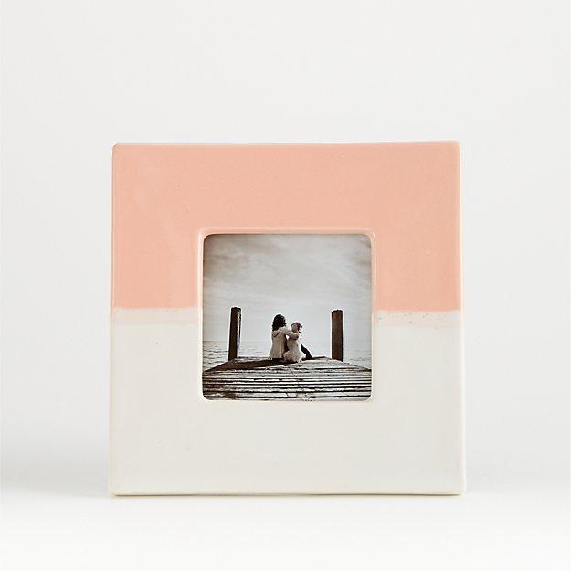 Vic 4x4 White and Blush Ceramic Frame - Image 1 of 3