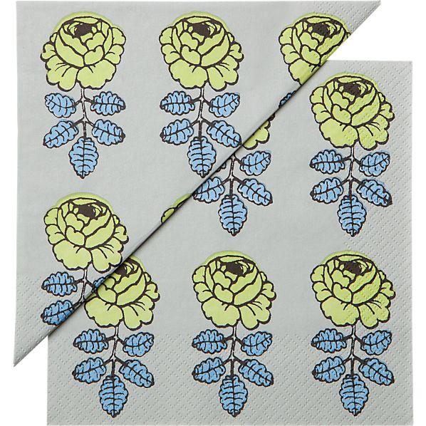 "Set of 20 Marimekko Vihkiruusu Green and Blue Paper 4.75"" Napkins"