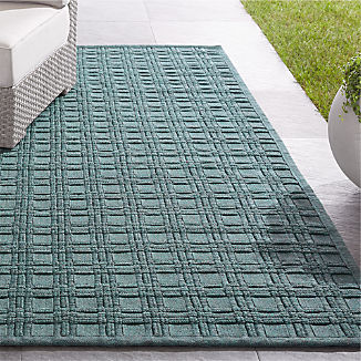 Villa Indoor/Outdoor Aqua Basket Weave Rug