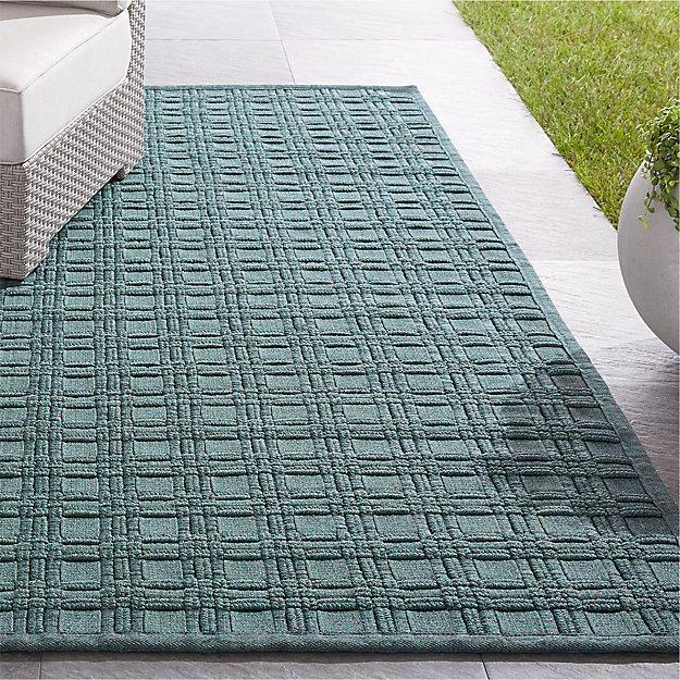 Villa Indoor/Outdoor Aqua Basket Weave Rug - Image 1 of 4