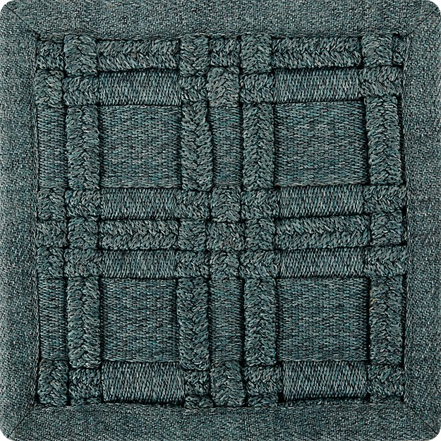Villa Indoor/Outdoor Aqua Basket Weave Rug Swatch - Image 1 of 4