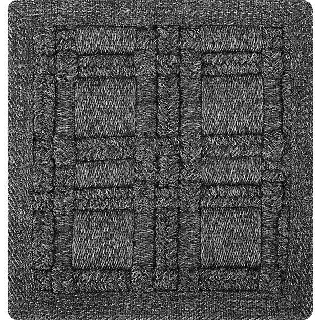 Villa Indoor/Outdoor Charcoal Basket Weave Rug Swatch - Image 1 of 6