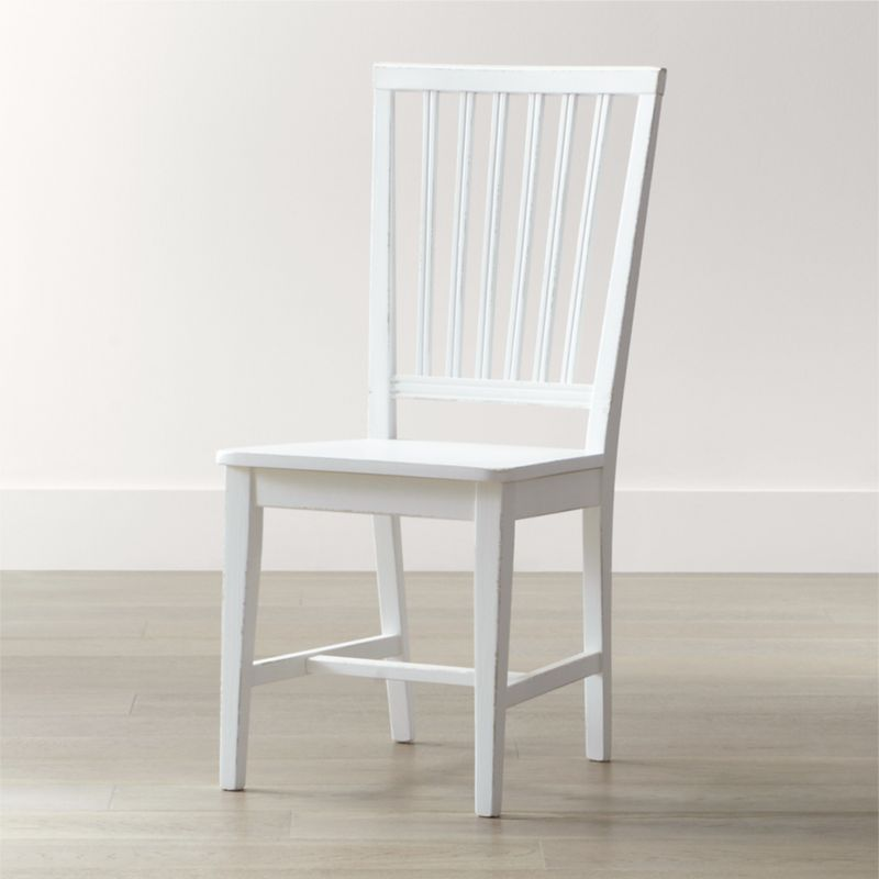 Village white wood dining chair crate and barrel for White wood dining room chairs