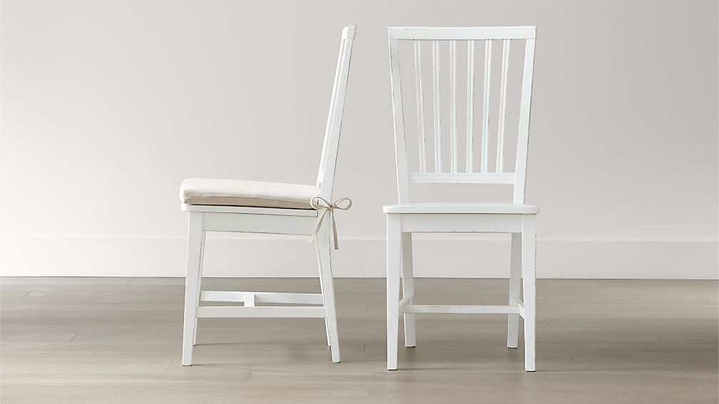 Village White Wood Dining Chair and Natural Cushion Crate and Barrel