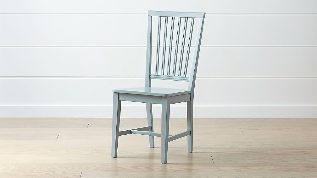 Village Blue Grey Wood Dining Chair - Image 1 of 6