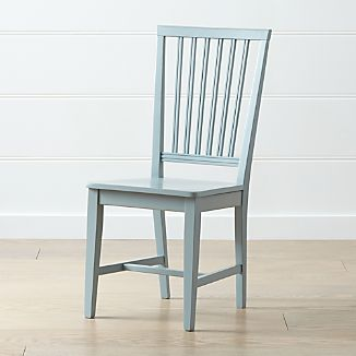 Village Blue Grey Wood Dining Chair