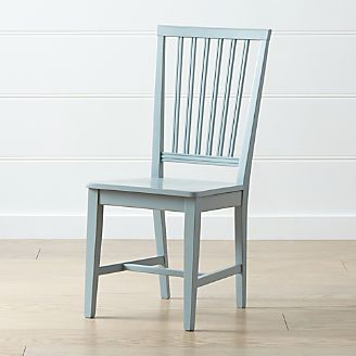 Village Blue Grey Wood Dining Chair