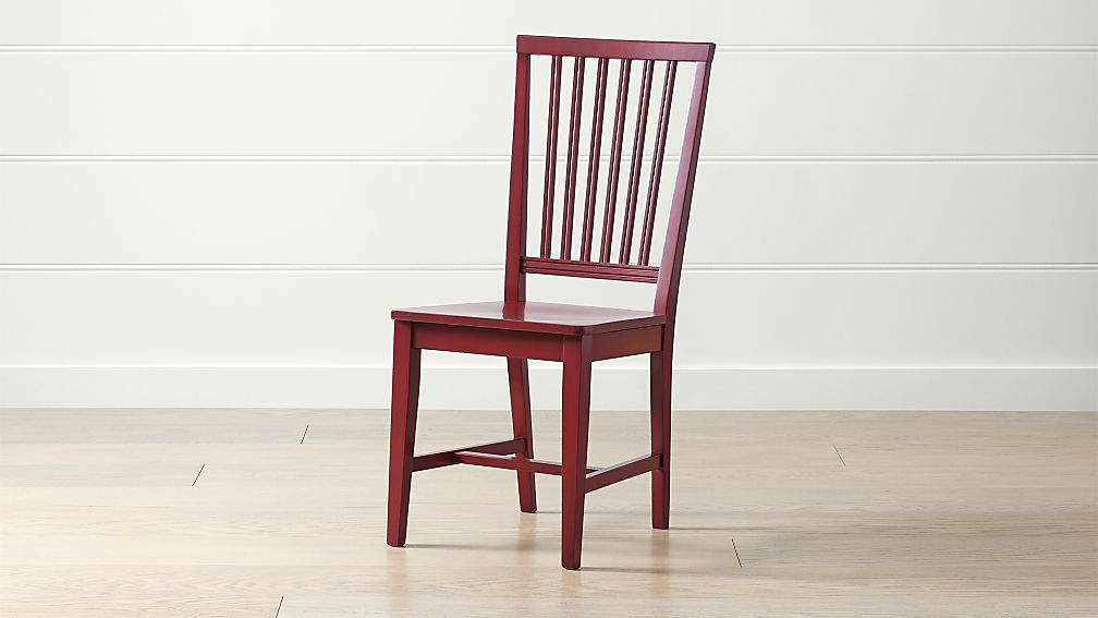 Village Red Wood Dining Chair - Image 1 of 6
