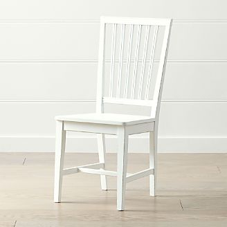 Village White Wood Dining Chair