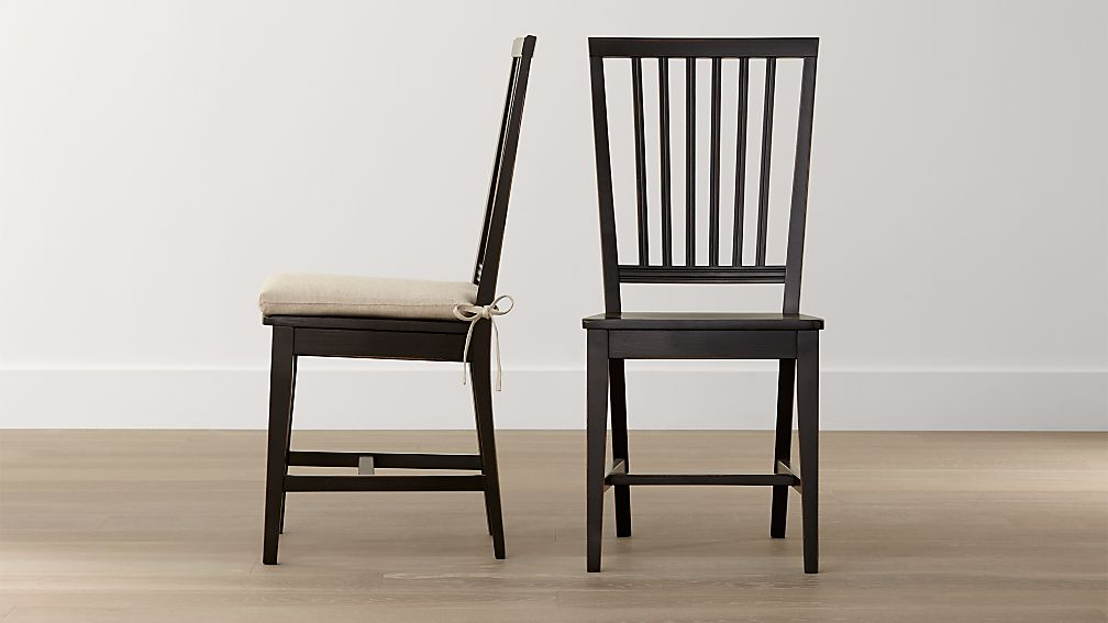 Village Bruno Black Wood Dining Chair and Natural Cushion Crate