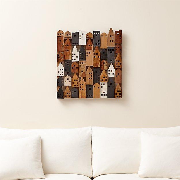 Village Wood Wall Art | Crate and Barrel