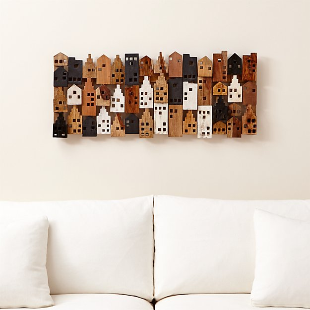 Rectangular Wall Art village rectangular wall decor | crate and barrel