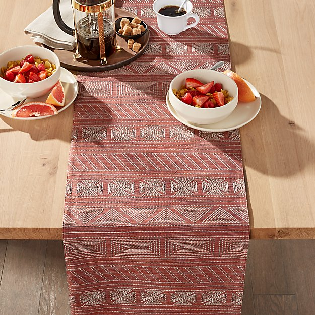 """Vicente 90"""" Red Table Runner - Image 1 of 3"""