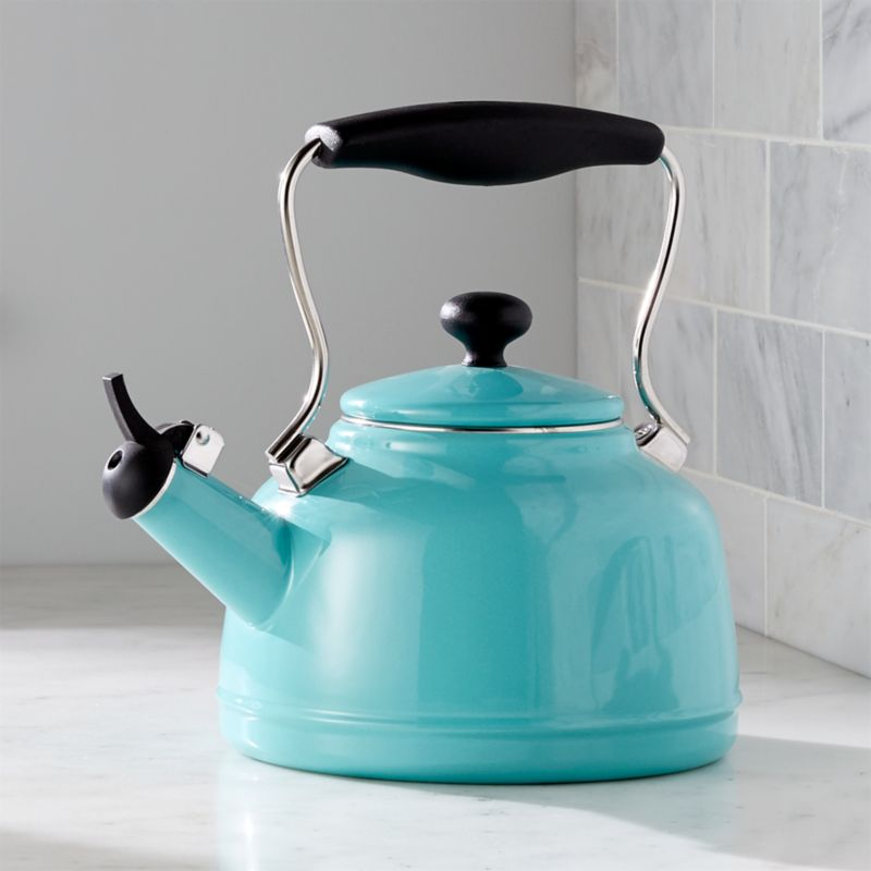 Chantal Vintage Aqua Steel Enamel Tea Kettle Crate And