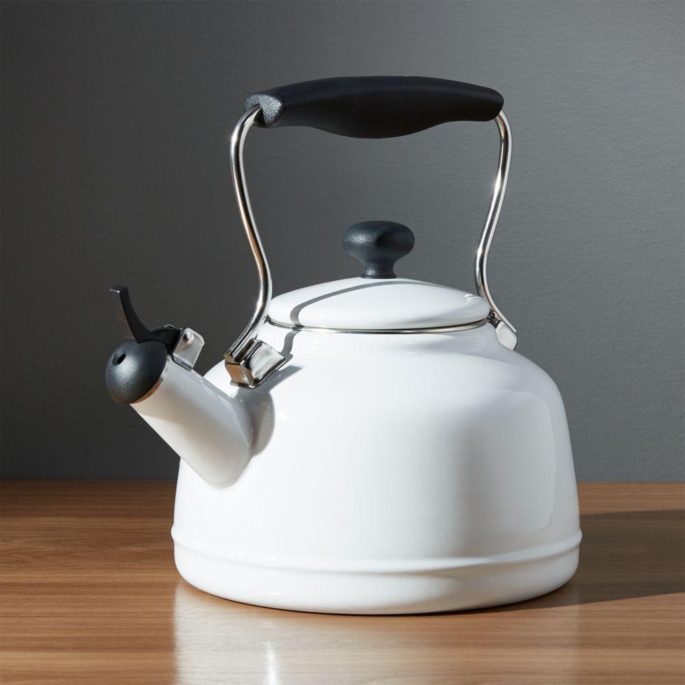 Chantal ®  Vintage White Steel Enamel Tea Kettle - Crate and Barrel