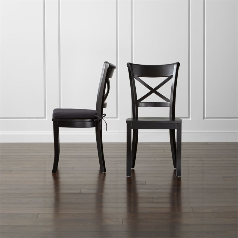 & Vintner Black Wood Dining Chair and Cushion | Crate and Barrel