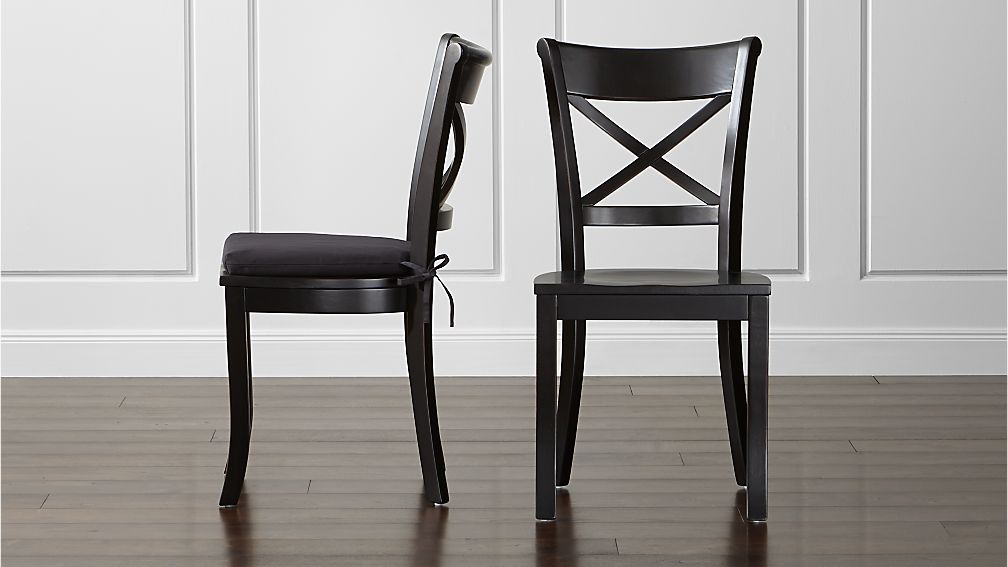 black wood dining chairs Vintner Black Wood Dining Chair and Cushion | Crate and Barrel black wood dining chairs