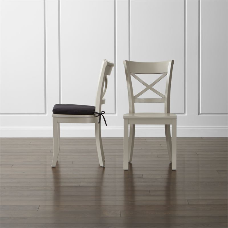 Vintner Dove Wood Dining Chair and Black Cushion | Crate and Barrel