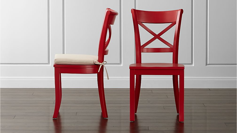 Vintner Red Wood Dining Chair And Cushion Crate And Barrel