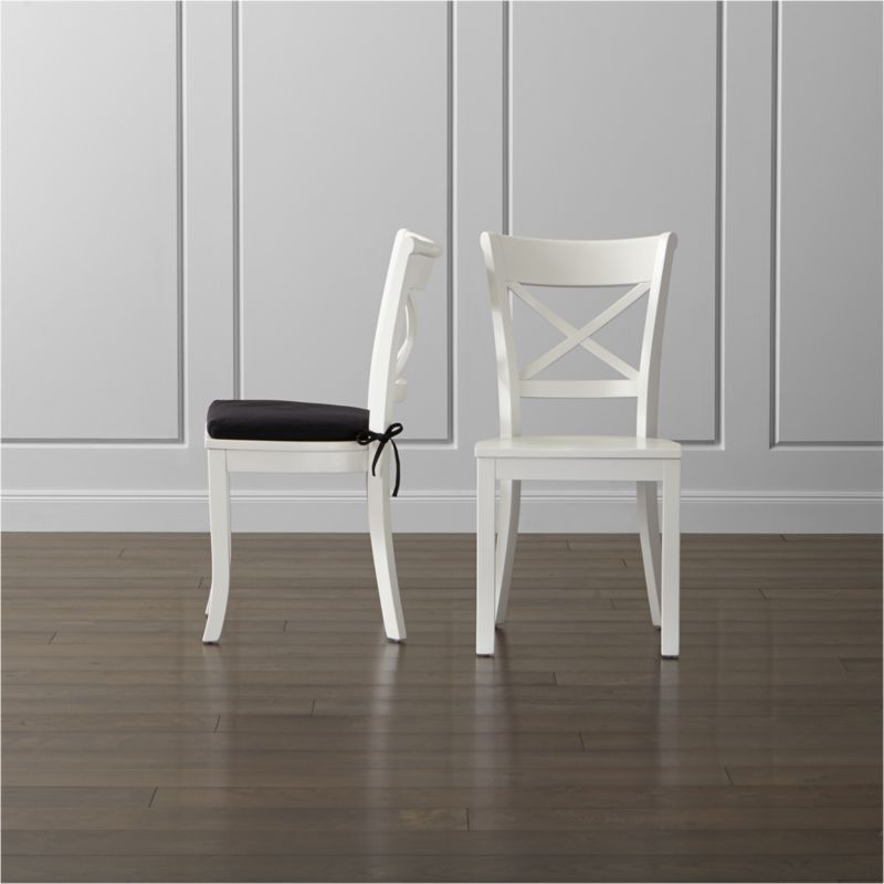 Vintner White Wood Dining Chair and Cushion Crate and Barrel