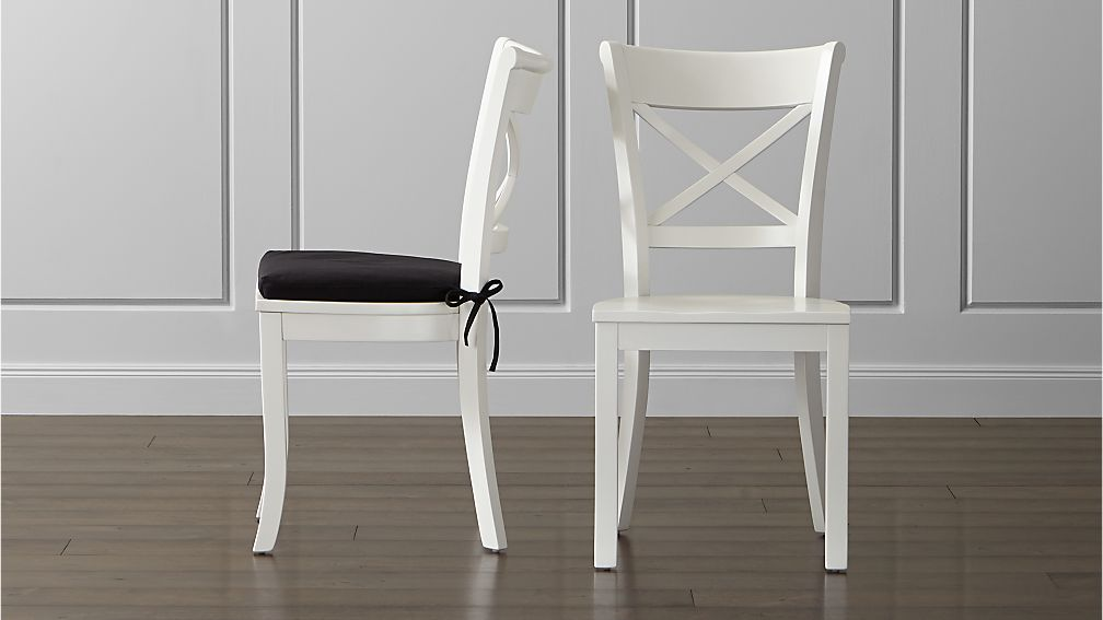 white wood dining chairs Vintner White Wood Dining Chair and Cushion | Crate and Barrel white wood dining chairs