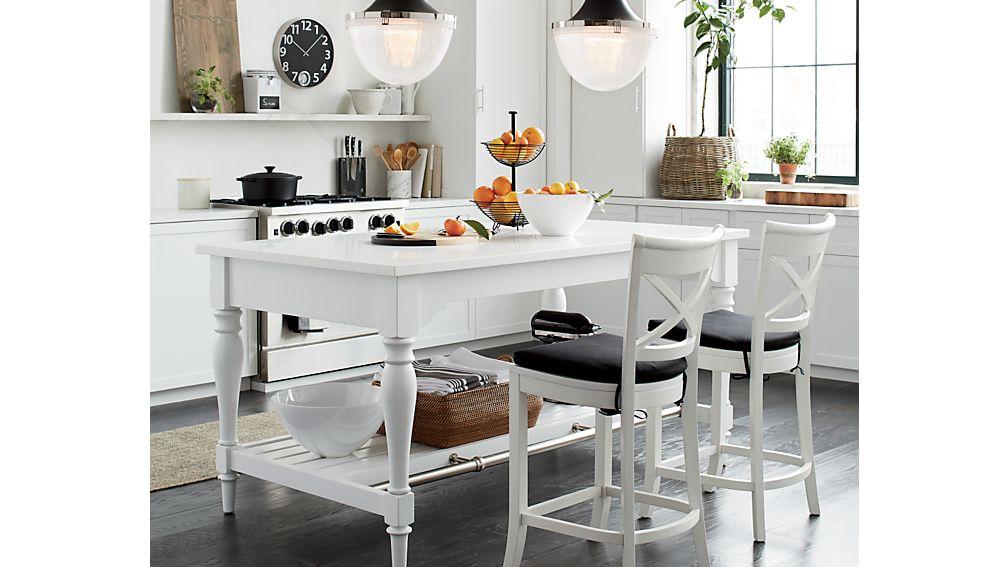 """Avalon 72"""" Large White Kitchen Island"""