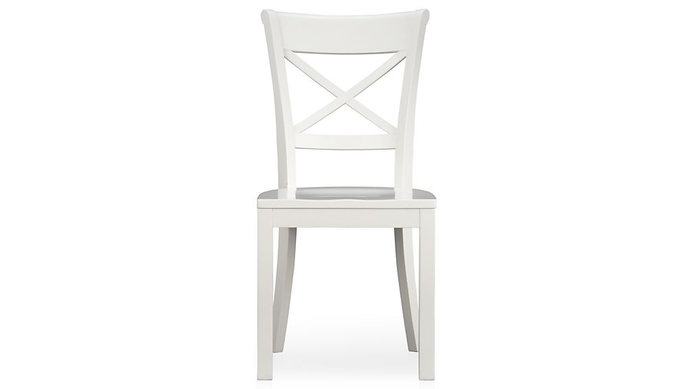Vintner White Wood Dining Chair and CushionCrate and Barrel