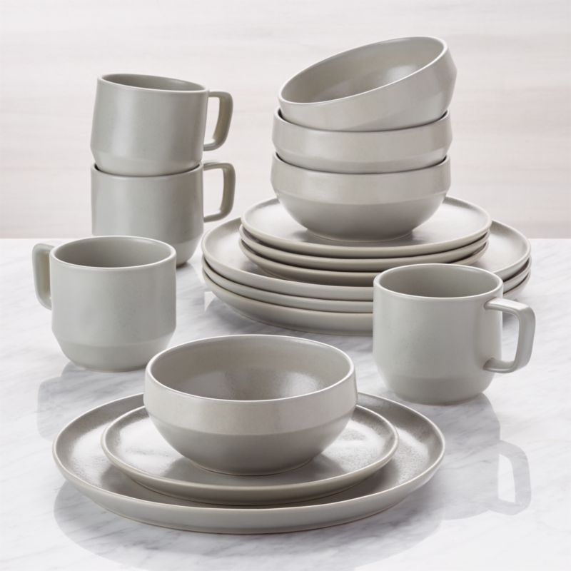 Visto 16 Piece Grey Stoneware Dinnerware Set Reviews