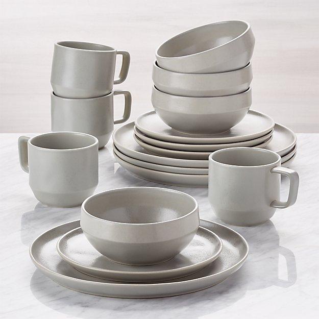 Visto 16-Piece Grey Stoneware Dinnerware Set - Image 1 of 7